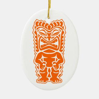 naranja del guerrero del tótem del tiki ornamentos de navidad