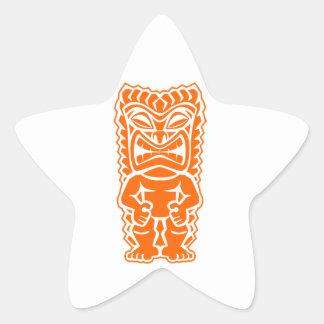 naranja del guerrero del tótem del tiki colcomanias forma de estrella