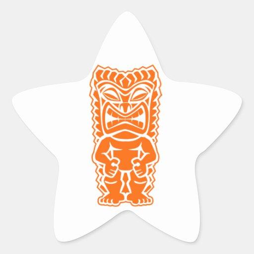 naranja del guerrero del tótem del tiki pegatina en forma de estrella