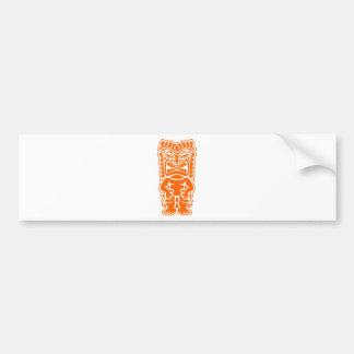 naranja del guerrero del tótem del tiki pegatina para auto