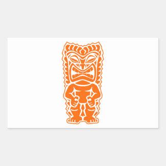 naranja del guerrero del tótem del tiki pegatina rectangular
