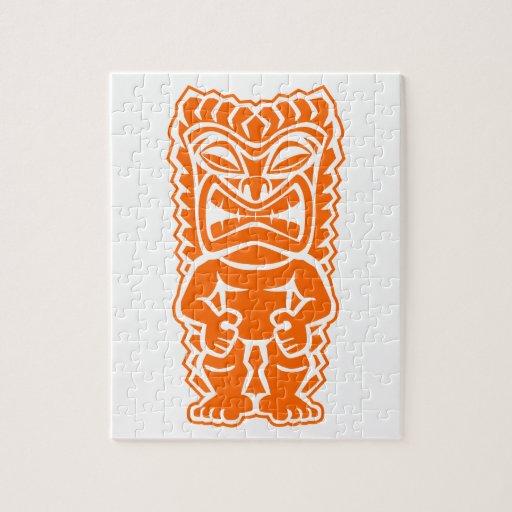 naranja del guerrero del tótem del tiki rompecabeza con fotos