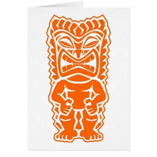 naranja del guerrero del tótem del tiki tarjeta de felicitación