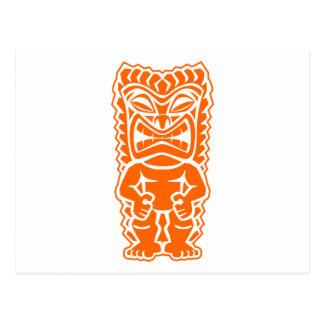 naranja del guerrero del tótem del tiki tarjeta postal