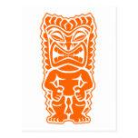 naranja del guerrero del tótem del tiki tarjetas postales