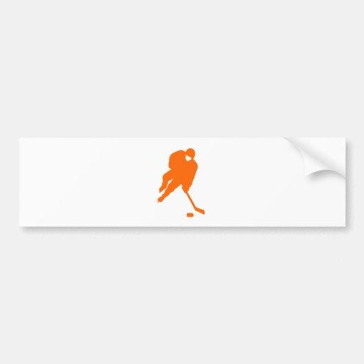 naranja del jugador de hockey pegatina para auto