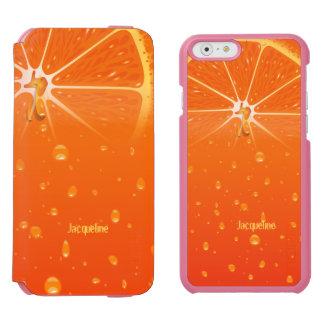 Naranja del jugo jugoso funda billetera para iPhone 6 watson