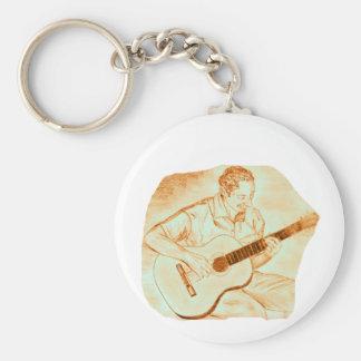 naranja del lápiz del jugador de la guitarra acúst llavero redondo tipo pin