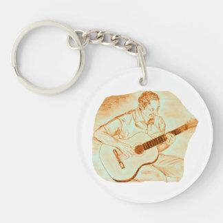 naranja del lápiz del jugador de la guitarra llavero redondo acrílico a doble cara