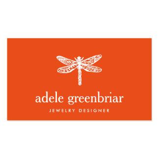Naranja del logotipo de la libélula del diseñador tarjetas de visita