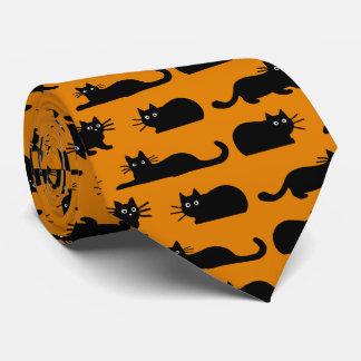 Naranja del modelo de los gatos negros corbatas personalizadas