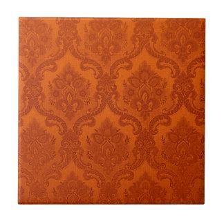 Naranja del modelo del papel pintado del vintage azulejo cuadrado pequeño
