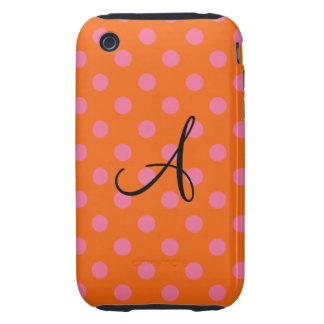 Naranja del monograma y lunares rosados iPhone 3 tough carcasa