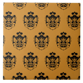 Naranja del negro del escudo de la familia azulejo cuadrado grande