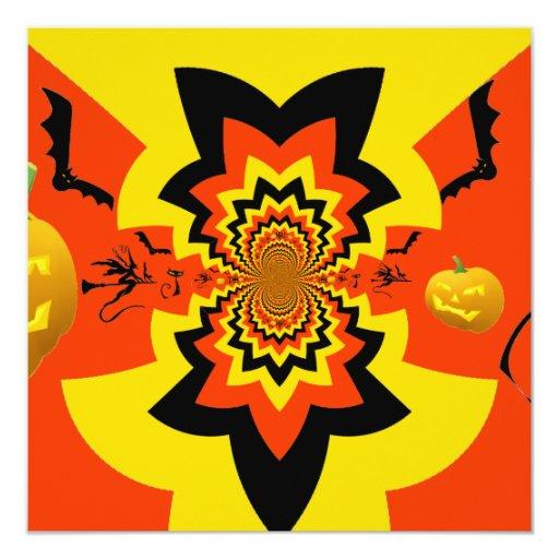 """Naranja del negro del modelo del caleidoscopio de invitación 5.25"""" x 5.25"""""""