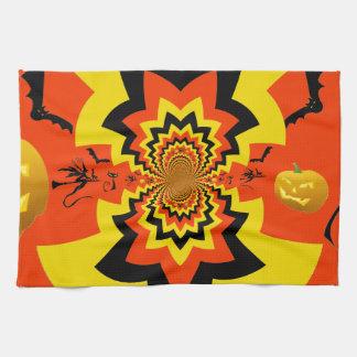 Naranja del negro del modelo del caleidoscopio de toalla