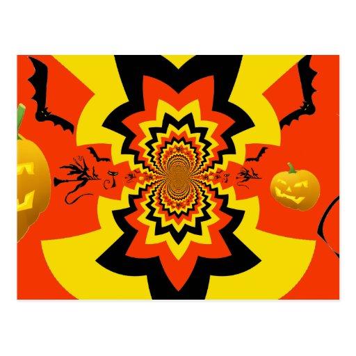 Naranja del negro del modelo del caleidoscopio de tarjetas postales