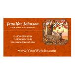 Naranja del otoño del árbol de arce del venado de tarjetas de visita