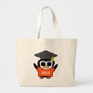 Naranja del pingüino del muchacho y graduado 2012  bolsa tela grande