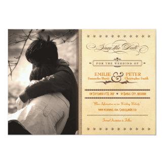 Naranja del poster del vintage y reserva de la invitación 12,7 x 17,8 cm