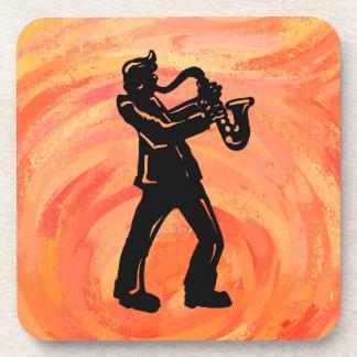 Naranja del saxofón de las noches de la boogie de posavasos de bebidas