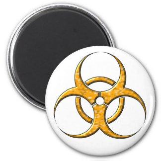 Naranja del símbolo del Biohazard Imán Redondo 5 Cm