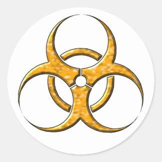 Naranja del símbolo del Biohazard Pegatina Redonda