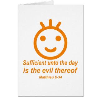 Naranja del smilley de Matthieu 6-34 Tarjetas