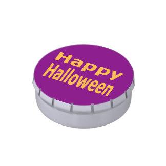 Naranja del texto del feliz Halloween Latas De Dulces