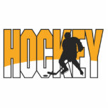naranja del texto del hockey esculturas fotográficas