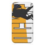 naranja del texto del hockey iPhone 4/4S fundas