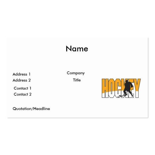 naranja del texto del hockey tarjetas de visita