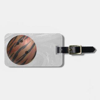 Naranja del tigre de la bola de bolos etiquetas para maletas