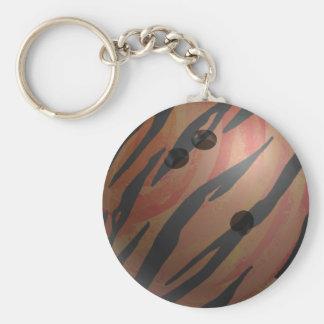 Naranja del tigre de la bola de bolos llavero redondo tipo pin