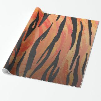 Naranja del tigre e impresión calientes del negro papel de regalo
