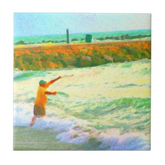 naranja del verde del extracto del pescador del ba azulejo