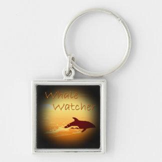 Naranja del vigilante de la ballena llavero cuadrado plateado