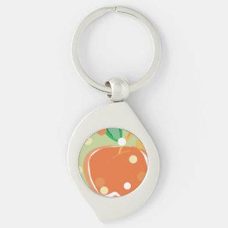 Naranja dulce Apple Llavero Plateado En Forma De Espiral