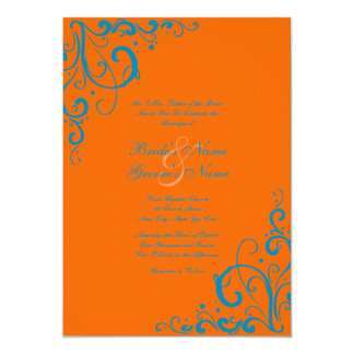 Naranja e invitación azul del boda del Flourish