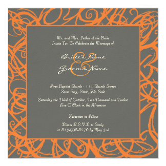 Naranja e invitación incompleta gris del boda del