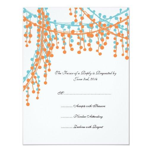 Naranja e invitación moldeada azul RSVP del boda