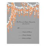 Naranja e invitación moldeada gris RSVP del boda