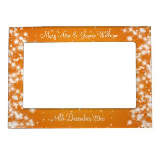 Naranja elegante de la chispa del invierno de los  marcos magnéticos de fotos