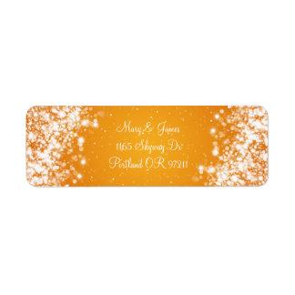 Naranja elegante de la onda el chispear de la dire etiqueta de remite
