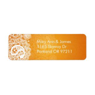 Naranja elegante del cordón de Paisley de la direc Etiqueta De Remite