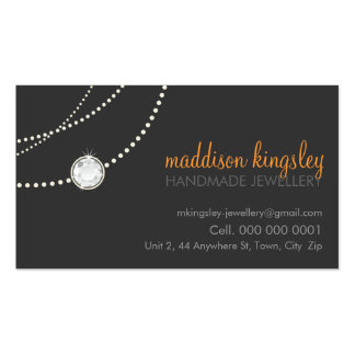 naranja elegante del gris del collar de la tarjeta tarjetas de visita