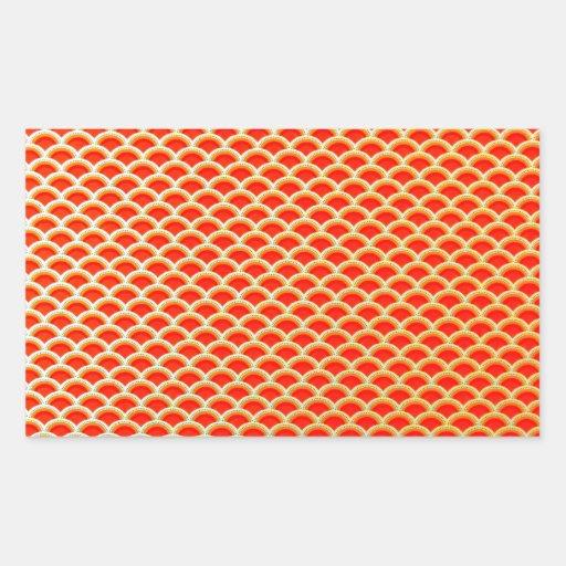 Naranja elegante y diseño curvado oro del vintage pegatina rectangular