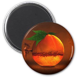 Naranja en golpecito imán redondo 5 cm