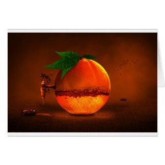 Naranja en golpecito tarjeta de felicitación