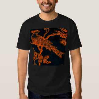 Naranja en la camiseta modelada pájaro bosquejada remera
